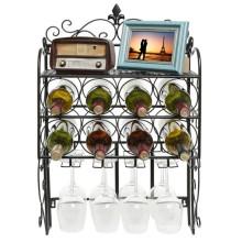 Home decor elegant style wall mounted metal black wine racks with wine glass holder
