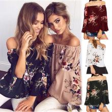 La señora vendedora caliente del verano imprimió a las mujeres de la blusa ocasional de la camiseta de la manga larga de las blusas casuales de los hombros