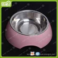 Bol en mélamine de conception de mode avec bol de chien en acier inoxydable (HN-PB939)