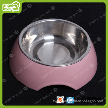 Fashion Design Melamine Bowl with Stainless Steel Dog Bowl (HN-PB939)