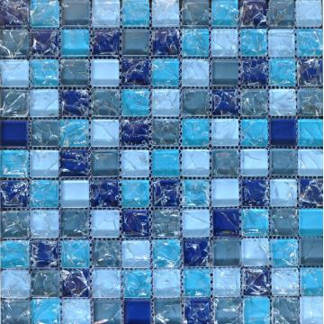 Prezzo competitivo Blue Cracked mosaico in vetro cristallo