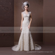 Gorgeous Mermaid V-neck Hollow-out Back Fish Style Lace & Beads Wedding Dress