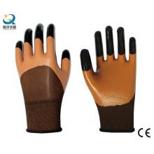 Nitril Sicherheit Arbeitshandschuhe halb beschichtet, Finger verstärkte Handschuhe (N7001)