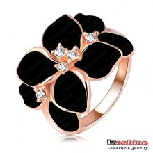 Mode Schwarz Rose Blume Emaille Ring für Frauen (Ri-HQ1006-A-2)