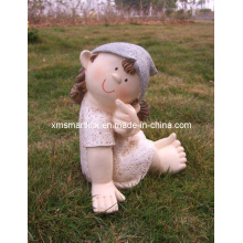 Polyresin Sculpture Garden Girl Doll Statue