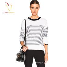 Pull à rayures en tricot de laine pour dames