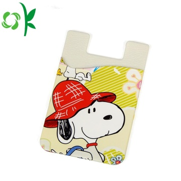 Snoopy Printed Silicone Cell Phone Wallet met 3D