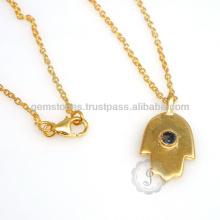 Vermeil Sapphire Hamsa Pendant Wholesale Gemstone Bezel Pendant Supplier