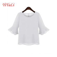 Moda plissado manga meio mulheres camiseta do Chiffon