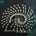 Fashion ladies sliver plated metal hair accessories hair combs net bridal comb with crystal