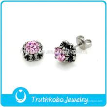TKB-E0074 Casting Jewelry Designs Boucle d'oreille fleur rose pour belles filles