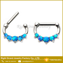 Stainless Surgical Blue Synthetic Opal Indian Nose Ring Jewelry