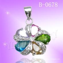 Forma de flor pedra colorida 925 pingente de jóias de prata