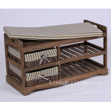 Wooden Shoe Rack Storage Bench Removable Cushion and 2 Rattan Basket drawers