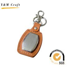 Porte-clés en cuir avec métal blanc pour logo (Y02088)