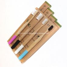 Paquete de 4 cepillos de dientes orgánicos de bambú con etiqueta privada