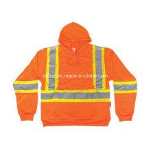 Orange 100% Polyester Sweat à capuche avec fermeture à glissière
