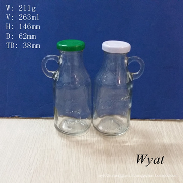 9 oz 250 ml yogourt lait bouteille en verre avec poignée et bouchon en étain métal