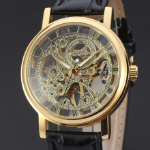 elegant vintage watch with skeleton design for men
