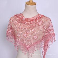 2017 Best-seller de moda cor sólida planície mulher de algodão com rendas oco triângulo cachecol com guarnição do laço infinito cachecol