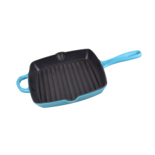 red or blue enamel cast iron grill pan or skillet or fry pan