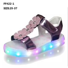 Moda infantil verão sandálias brilhantes piscando luz LED shoes (ff422-2)