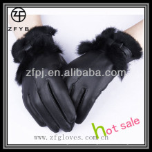 High quality leather lady fur glove leather
