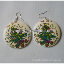 indian wooden earrings Printing Jesus earring round shape