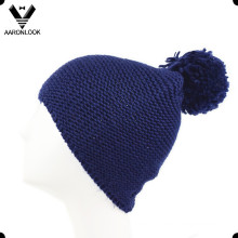 Solid Color Winter Wool Knitted Hat with Top Ball