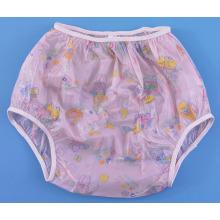 Calças de algodão com calças de plástico para vinil