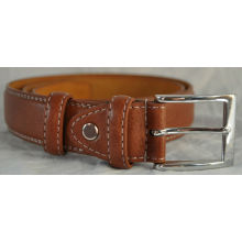 Brown Leather waistband for men shirts Double Stitched