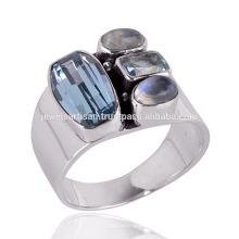 Neuer Ankunfts-Regenbogen-Mondstein und blauer Topaz 925 fester silberner Ring