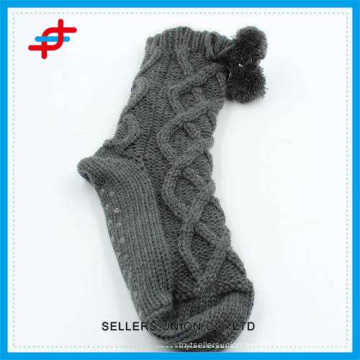2016 high quality wool socks for young girls,anti-slip and stripe pattern for wholesale