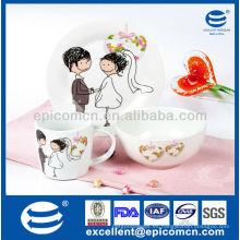 Encantador 3 piezas de regalo de desayuno de porcelana para nuevas parejas de la boda