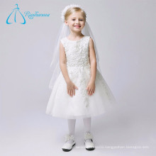 Beading Pearls Scoop Tea-length Vintage Flower Girl Dresses
