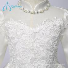 Alto Cuello Apliques Perlas Té Longitud Manga Larga Niña Flor Vestidos Niña