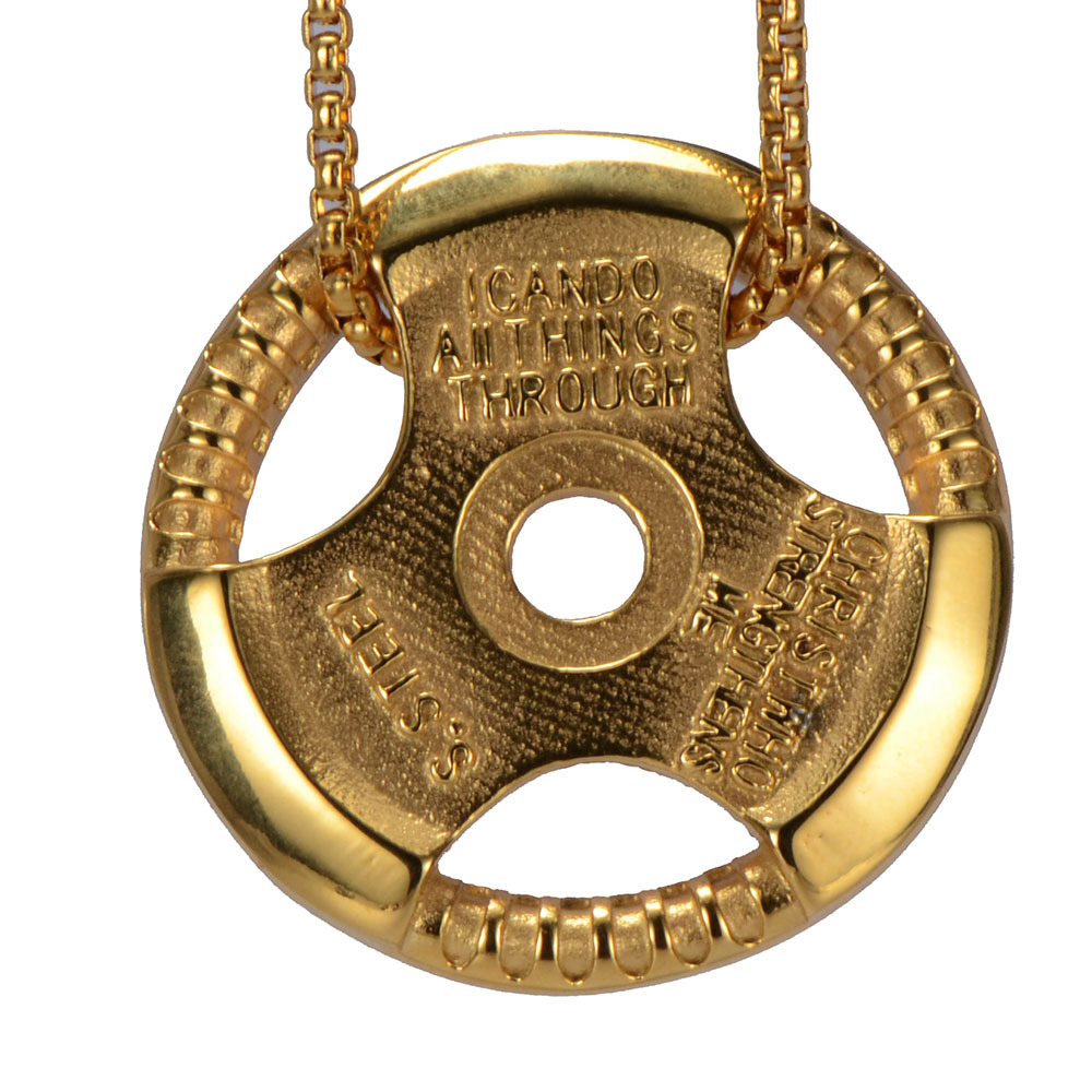 Cool Gold Fitness Dumbbell Pendant Necklace For Men