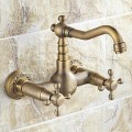 WALL MOUNT TWO HANDLES ANTIQUE INSPIRED KITCHEN TAP