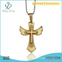 Antike Gold keltischen Kreuz Anhänger, Edelstahl religiösen Symbole Schmuck