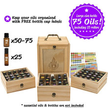 China factory Christmas gifts 75 bottles 3 tier wooden 5ml 10ml 15ml essential oil box