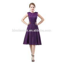 2016 en stock hombro corto estilo vestido de bola con cuentas niñas de color púrpura vestido de novia