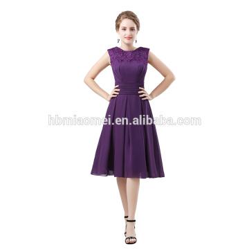 2016 em estoque fora do ombro estilo curto vestido de baile frisado roxo cor meninas vestido de noiva