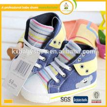 Melhor venda de lona de pano antiderrapante esporte moda sapatos criança