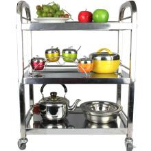 carrito de servicio de alimentos de acero inoxidable / 3 estantes carrito de servicio de alimentos de restaurante al por mayor