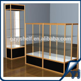 Design retail store display cabinet, wood display cabinet with glass doors