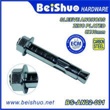 Hex Head Dynabolt Sleeve Anchor Acier au carbone avec placage au zinc