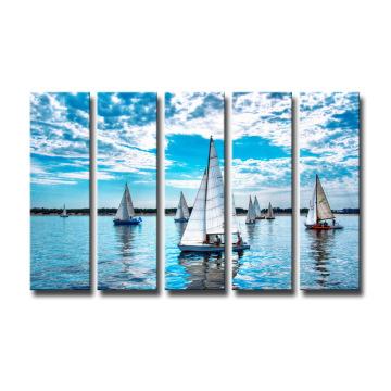 Группа Лодка Отпечатки На Холсте Украшения Дома Настенной Живописи