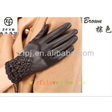 Lady moda couro luvas morno para importador