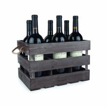 Caja de regalo de 6 botellas de impresión de pantalla personalizada logotipo pino vino caja de vino de madera embalaje de regalo