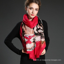Lady Long Wool Tiger Pattern Impressão digital Red Scarf Muffler